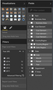 PowerBI field editor