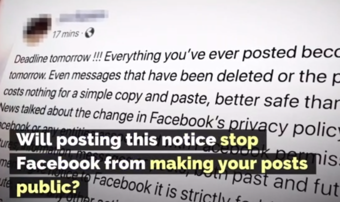 Both real and fake Facebook privacy news